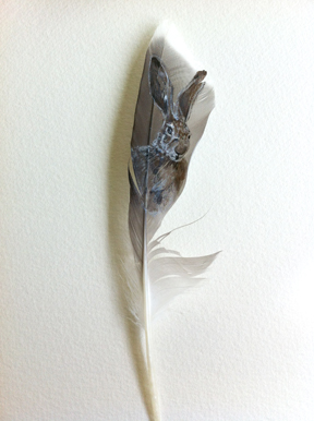 Painting of a hare on a feather by Mandi Baykaa-Murray