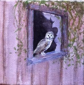 Barn Owl in a Window 3, painting, art, acrylic, miniature, Mandi Baykaa-Murray