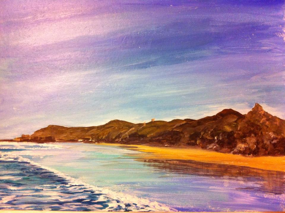 Painting of Cornish Coastline by Mandi Baykaa-Murray