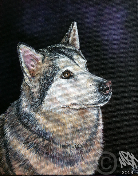 Portrait Painting of Alaskan Malamute by Mandi Baykaa-Murray