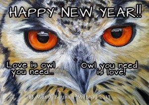 Happy New Year Owl by Mandi Baykaa-Murray