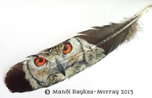 Eagle Owl painted on a Feather in acrylic by Mandi Baykaa-Muray.