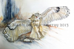 Silent Ambush. Acrylic/watercolour by Mandi Baykaa-Murray. This is the painting I entered into the DSWF Art Competition this time last year (without success). Just last week, thanks to a magazine Article in the West Country Life Magazine, this painting was sold! A lovely gentleman bought it and although I was sad to see it go, I know it will be greatly appreciated in its new home! :)