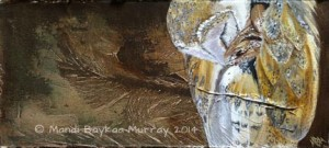 'Snuggled Up' Barn Owl, acrylic by Mandi Baykaa-Murray