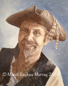 "Happy Pirate, Acrylic, 15"" x 11"" Mandi Baykaa-Murray"