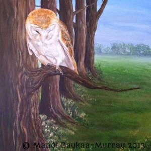 Original Painting of a Barn Owl in Acrylic on canvas by Mandi Baykaa-Murray