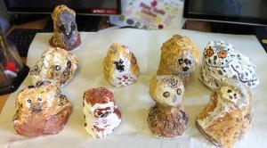 Mod-roc owl sculptures