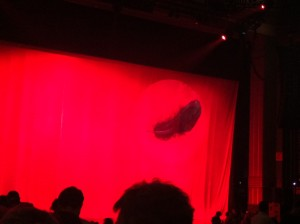 Kate Bush Half time curtain down - had a huge feather on it - a hint of things to come...?