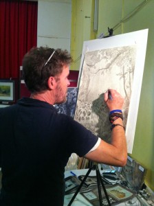 Vic Bearcroft working on his latest Indian Ink painting.
