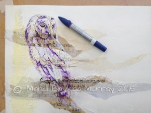 Water soluble pen added and spritzed with water spray.