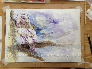 Background added in watercolour, blended away to the corners.