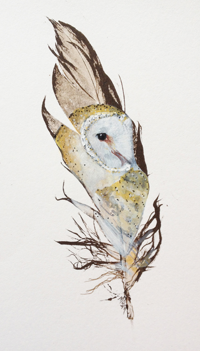 Barn Owl painted feather