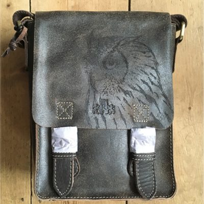 eagle owl pyrographed leather bag
