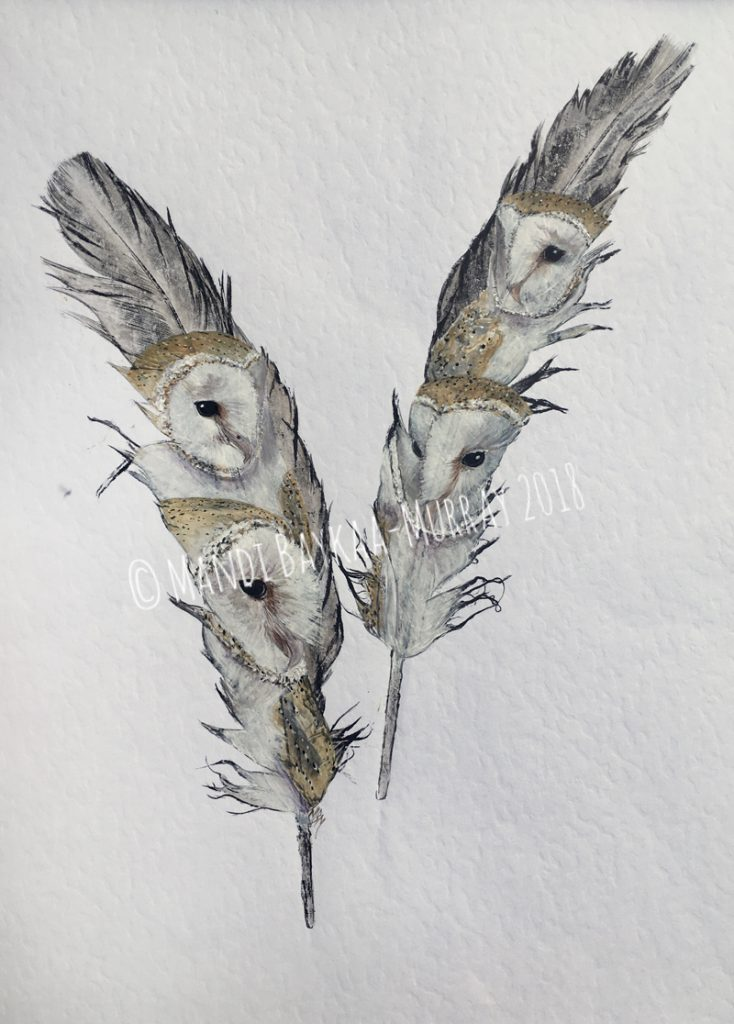 'Quartet' (4 Barn Owls) My latest piece which will be on display at Beningbrough Hall from 13th Jan 2018
