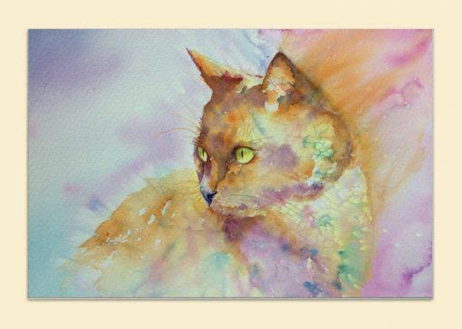 painted kitten watercolour