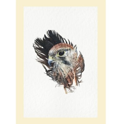 Mini Kestrel painted feather greetings card